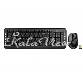 کیبورد کامپیوتر A4tech With Mouse Wireless 7200N