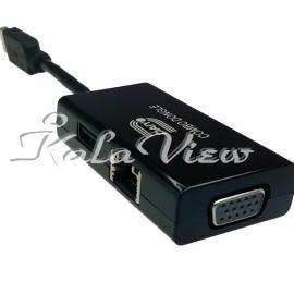 کارت شبکه شبکه Daiyo USB 3 0 To 3 In 1 Combo Dongle Fast Lan + USB 2 0 + VGA
